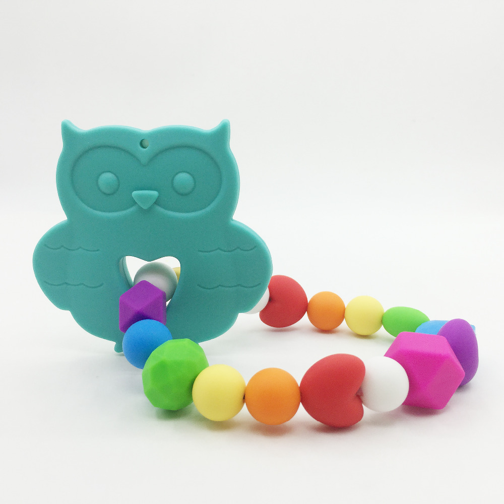 Very Large owl necklace teething toys Silicone Baby Teether Toy pendants necklace for Ba ...