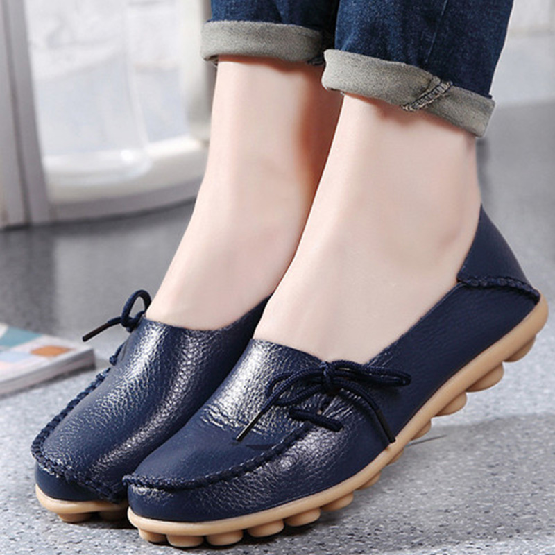 Women Flat Fashion Lace Up Plus Size Casual Women Shoes Moccasins Leather  Flats ShoesWomen Flat Fashion Lace Up Plus Size Casual Women Shoes Moccasins Leather  Flats Shoes