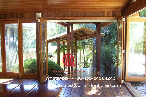Thermal Break Aluminum Frame Bi-folding Door In Living Room With Build In Shutter,bi Fold Door Design Exterior Patio Doors