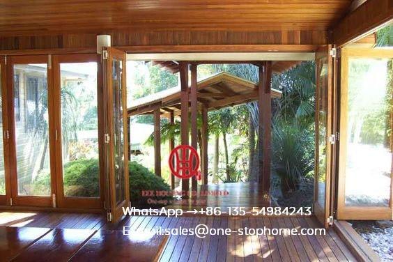Thermal Break Aluminum Frame Bi-folding Door In Living Room With Build In Shutter,bi Fold Door Design Exterior Patio Doors