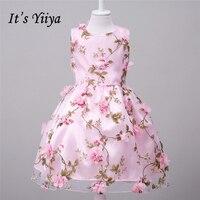 It S YiiYa Pink Orange Sleeveless O Neck Bow Appliques Pattern Lace Kids Princess Flower Girls