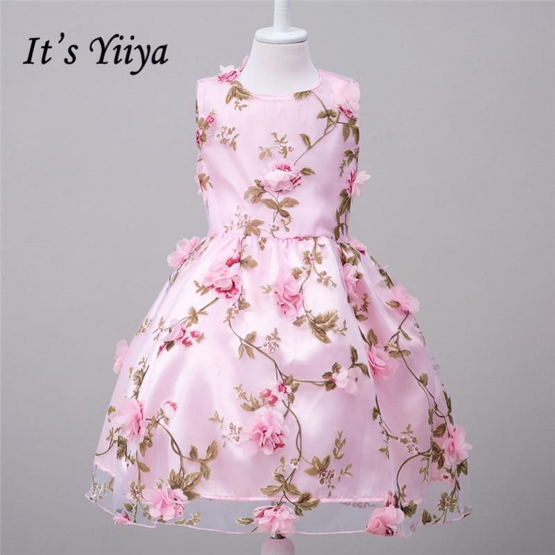 It's YiiYa Pink Orange Sleeveless O-Neck Bow Appliques Pattern Lace Kids Princess Flower Girls Dress Summer Classic Dress TS095