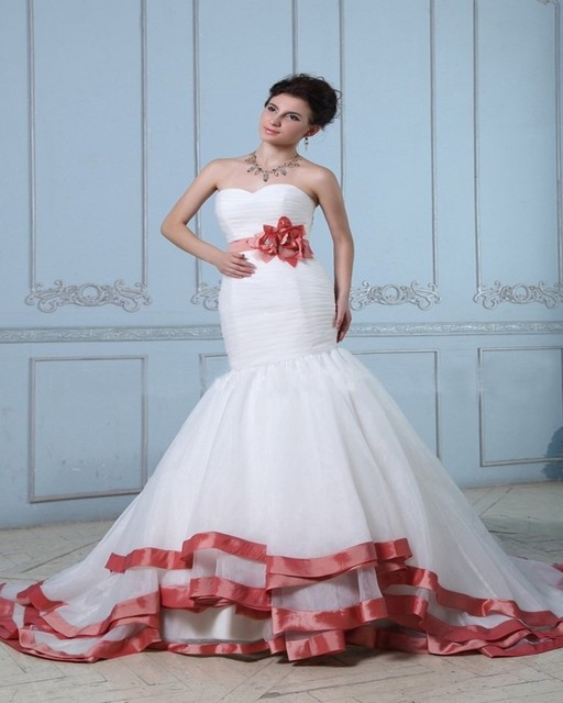 Vestido De La Fajas Novia Custom Blanco Y Rojo Organza Sirena pwW7ZYq
