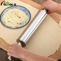 Rodillo antiadherente de acero inoxidable para hacer masa de pastelería hornear fideos de Pizza galletas pastel herramientas para hornear accesorios de cocina