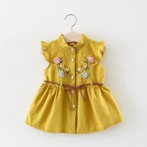 Платье для маленьких девочек, летняя одежда для новорожденных, платье без рукавов с вышивкой для детей 6, 12, 18, 24 месяцев, белый, желтый, От 1 до ...
