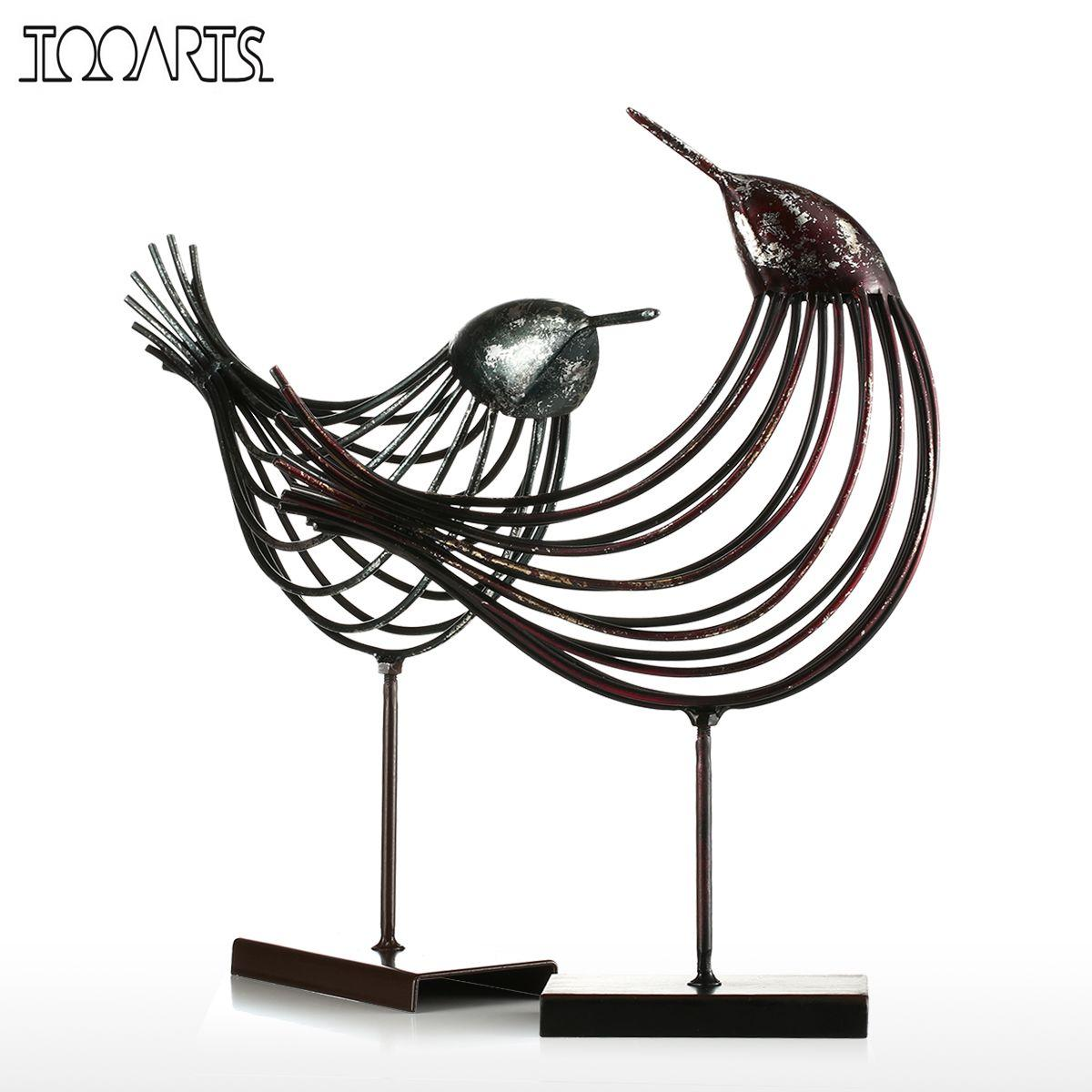 tooarts iron wire bird metal sculpture wonderful sculpture bird modern artwork favor gift home. Black Bedroom Furniture Sets. Home Design Ideas