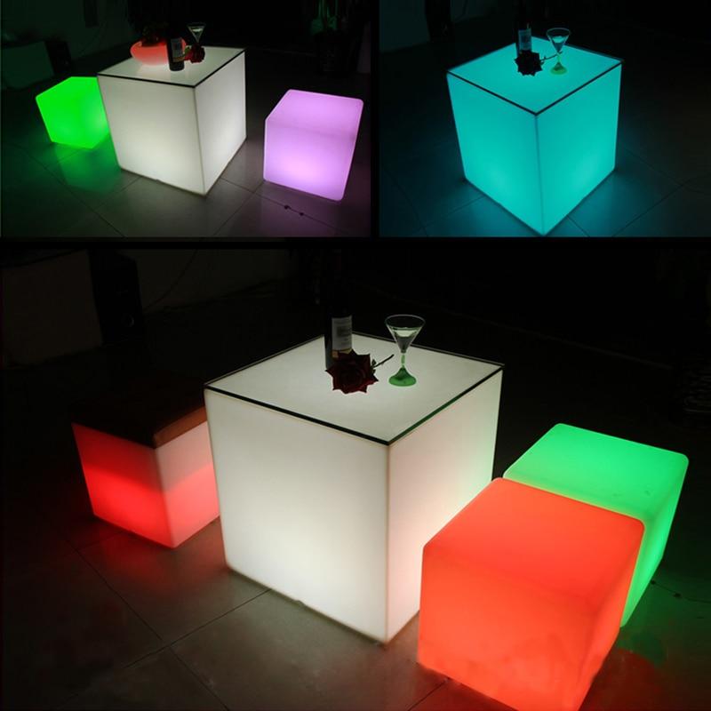 50*50*50 Cm Led Lichtgevende Cubic Kruk Zetel Thuis Outdoor Decoratie Led Licht 16 Kleur Veranderende Kubus Tafel Meubels Gratis Verzending