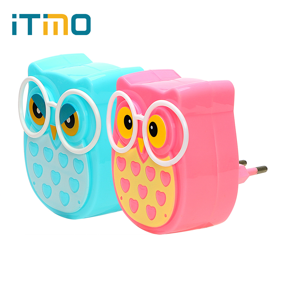 ITimo LED Night Light Owl Soft Auto Light Control Sensor Lamp EU Plug Indoor Lighting Socket Lamp Animal Nightlight