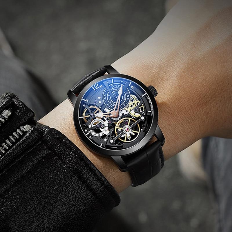 AILANG mannen Mechanische Horloge Tourbillon luxe mode mannen lederen merk sport horloges heren horloge automatische mannelijke horloge-in Mechanische Horloges van Horloges op  Groep 1