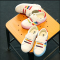 Crayon spring autumn new white shoes breathable leather shoes rainbow colored children, boys and girls shoes a generation of fat