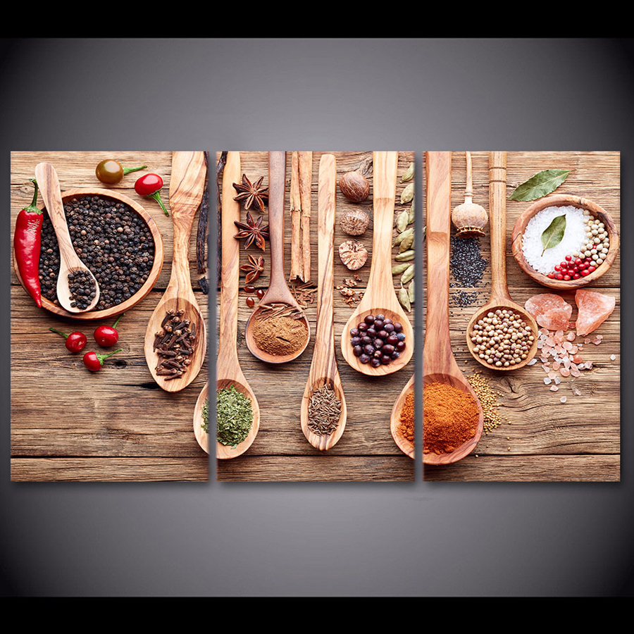 Aliexpress Com Buy Kitchen Decor Food Quote Canvas: 3 Panel Spoon Grains Spices Canvas Painting Kitchen Room