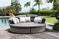 2017 comercio al por mayor pe rattan outdoor patio plataforma ronda portátil sofá cama
