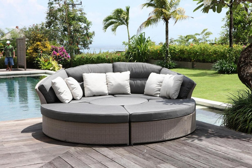 wholesale pe rattan outdoor patio portable round platform sofa bed