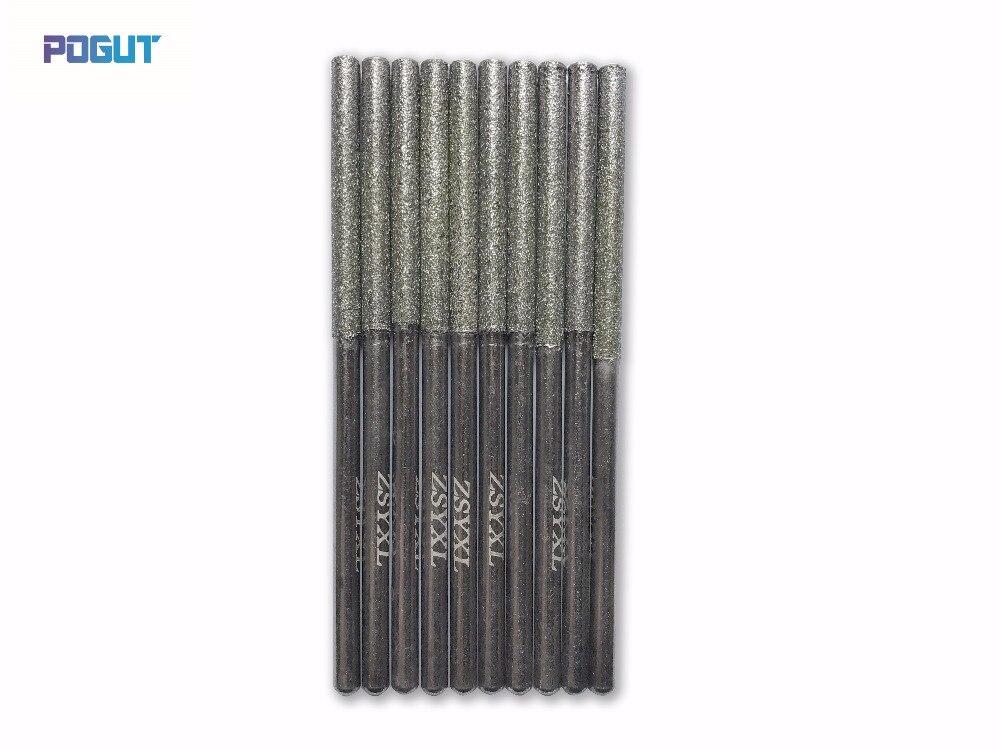 Длина 70 мм 3 мм Алмаз Цилиндрический Боры Набор DREMEL 3 мм Хвостовиком Роторный Инструмент Сверло для шлифовальные нефрита, камень, мрамор, сте…