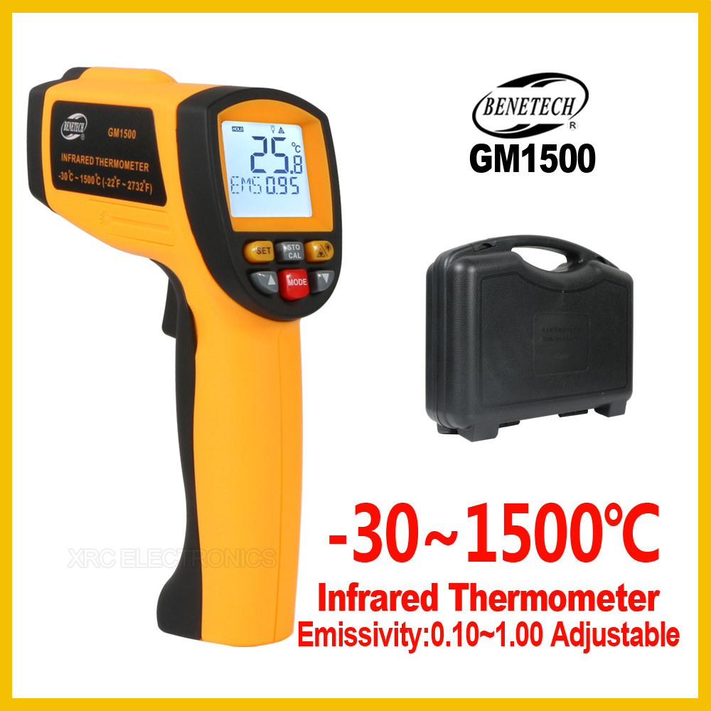 Digital  Infrared Thermometer Non Contact Pyrometer IR Laser Point Gun   30~1500 degree For Industial Use GM1500 BENETECH-in Temperature Instruments from Tools    1