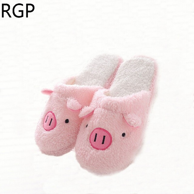 2018 Winter Pantufa Cute Pig Soft Bottom Slippers Women Home Slipper Plush Velvet Man Shoes Couple House Slippers Indoor Shoes soft house slippers women men home shoes cute bedroom foot warmer japanese indoor slippers fur pantufa zapatillas casa chaussons