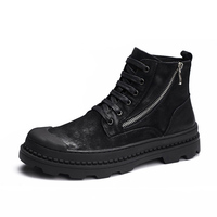 2018 Spring autumn Men Boots Vintage Style Men Shoes Casual Fashion High Cut Lace up zipper military Western outdoor boots male