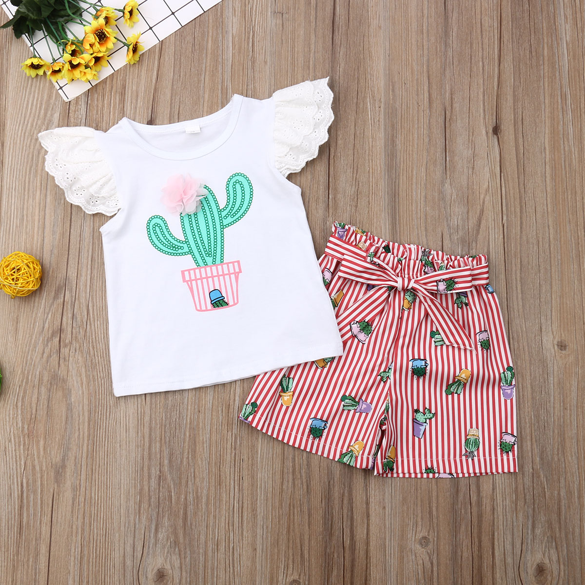 Cactus Toddler Shorts Clothes Set Kids Baby Girl White Sleeveless T Shirt Red Stripe Pants Outfits Children in Clothing Sets from Mother Kids