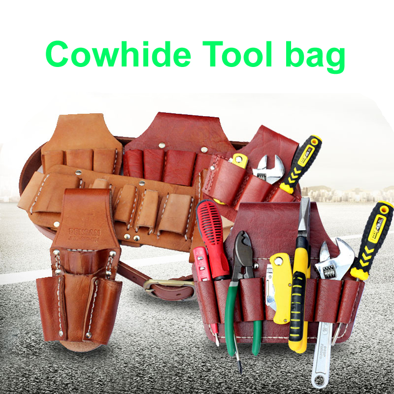 Cow Lether Tool Bag Cowhide Pocket Multifunction Repair Waterproof Wearable Electrician Waist Hanging Pouch Belt Yellow No Tools