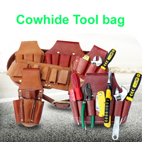 Cow Lether Tool Bag Cowhide Pocket Multifunction Repair Waterproof Wearable Electrician Waist Hanging Pouch Belt Yellow
