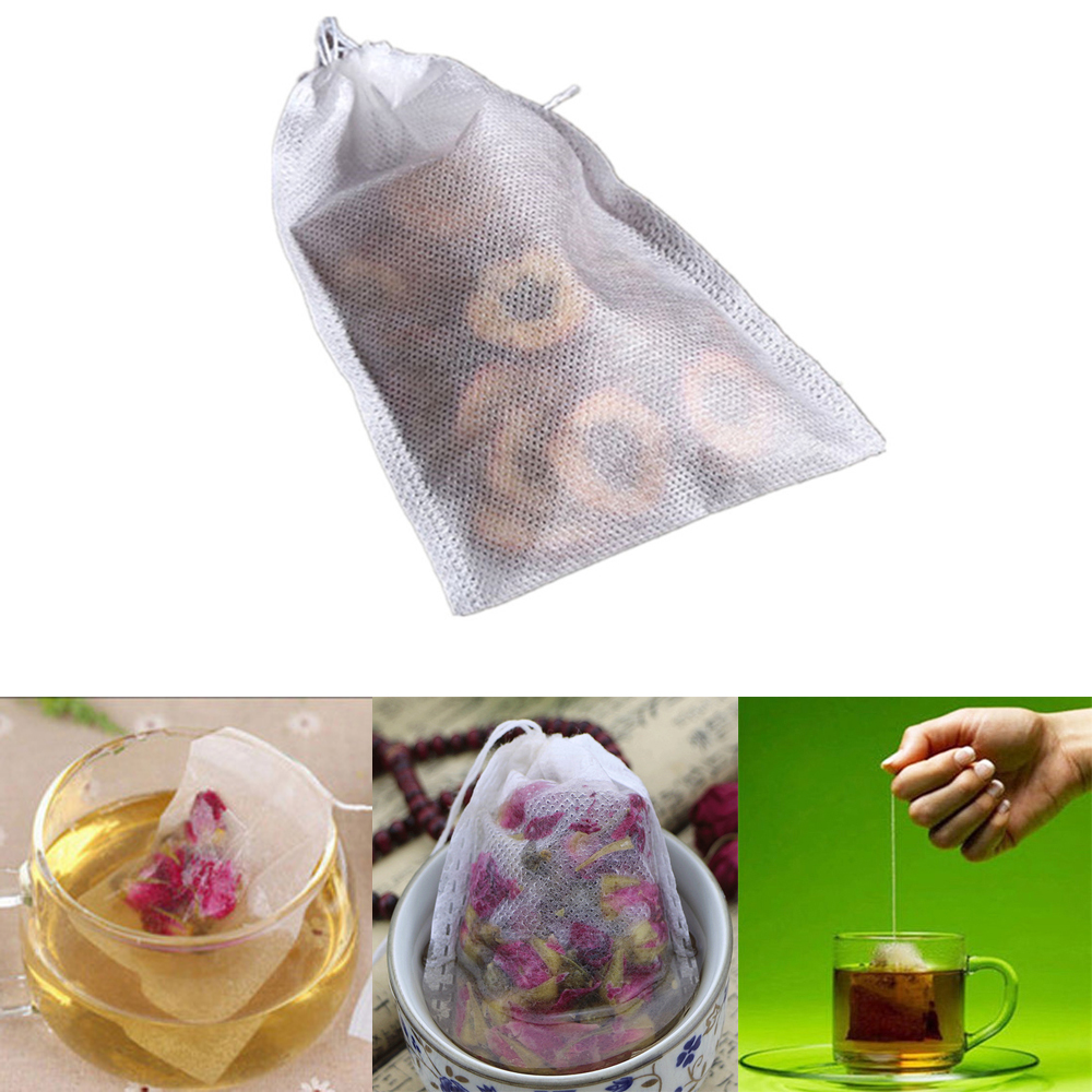 100Pcs/Lot Tea Bags 5x 7CM Empty Scented Drawstring Pouch Bag With String Heal Seal Sachet Filter Paper Teabags Empty Tea Bag