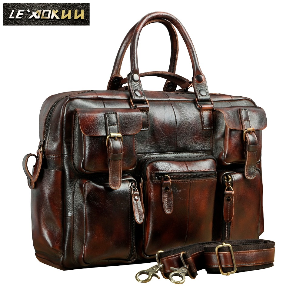 Original leather Men Fashion Handbag Business Briefcase Commercia Document Laptop Case Design Male Attache Portfolio Bag 3061 bu-in Briefcases from Luggage & Bags
