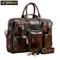 Original leather Men Fashion Handbag Business Briefcase Commercia Document Laptop Case Design Male Attache Portfolio Bag 3061-bu