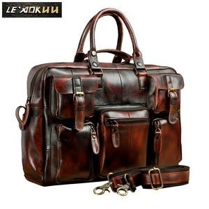 Image 2 - Original leather Men Fashion Handbag Business Briefcase Commercia Document Laptop Case Design Male Attache Portfolio Bag 3061 bu
