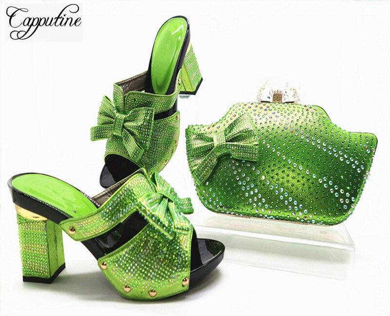 rouge Capputine Chaussures Couleur Sac Et Nigérians Or or Dames Green Italiennes Assortis Les fuchsia Mariage Ciel Africaine Nouvelles G46 De Ensemble Sacs Pu fruit gE8wgqr