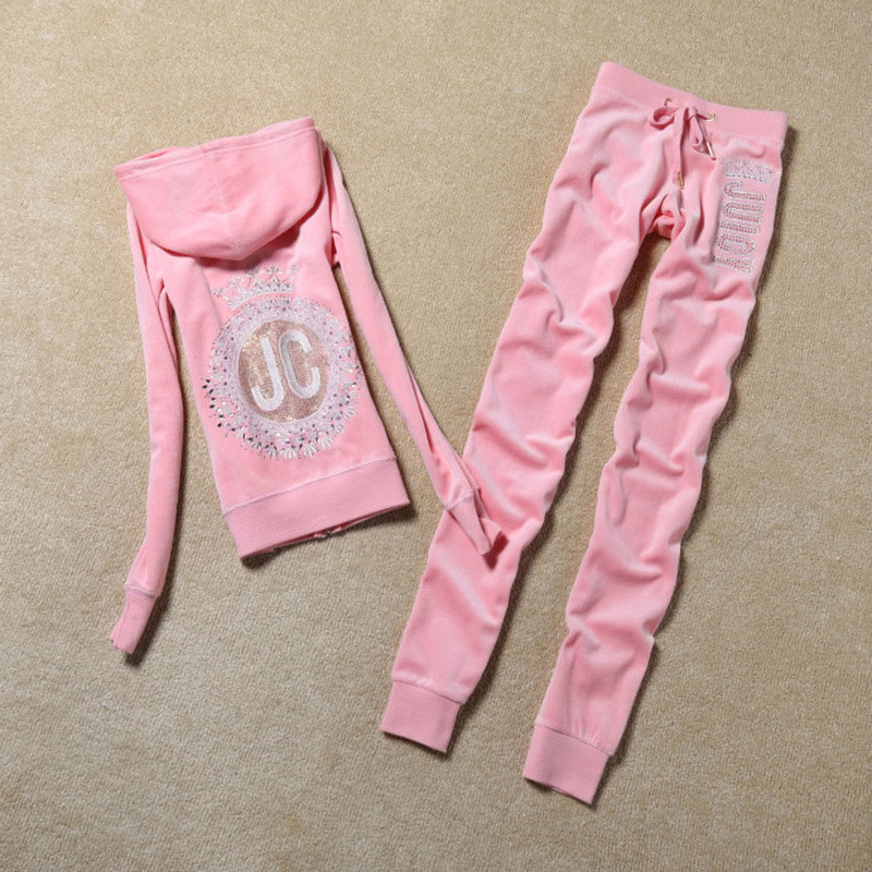 H/&E Womens Casual Active Pearls Pullover Top Jogger Pants Tracksuit Set