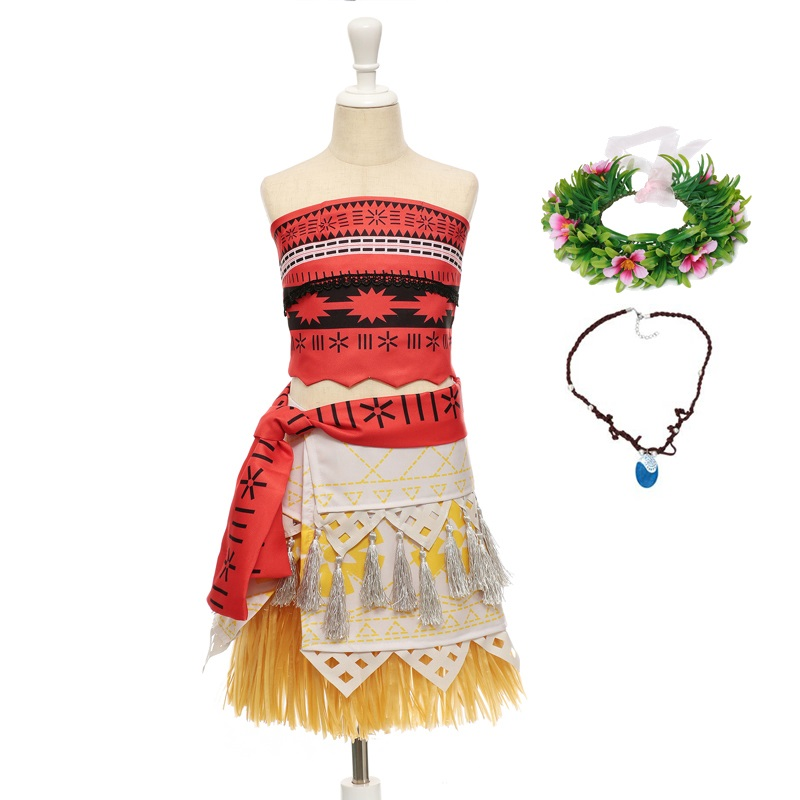 VOGUEON Girls 2 Piece Set Moana Dress Summer Princess Cosplay Costume Little Girl Outfit for Children Halloween Birthday Party ems dhl free shipping toddler s little girl s tull dress princess birthday party masquerade rapunzel cosplay halloween wear