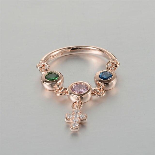 100% 925-Sterling-Silver Крест Кулон Кольца С Красочными Кубического Циркония Ювелирные Изделия Обручальные Кольца Для Женщин Бесплатная Доставка