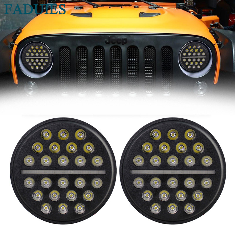 FADUIES 7 Round LED Headlight H4 High/Low beam Auto Headlight With White DRL For Jeep Wrangler JK TJ Hummer Defender 7 inch 105w round led headlight with drl high low beam led chip for jeep wrangler jk tj lj cj hummer harley