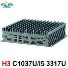 Fanless PC with 2 LAN Mini PC 8-36V Wide Voltage 6 COM Industrial Computer with Intel 1037U i5 3317U Processor