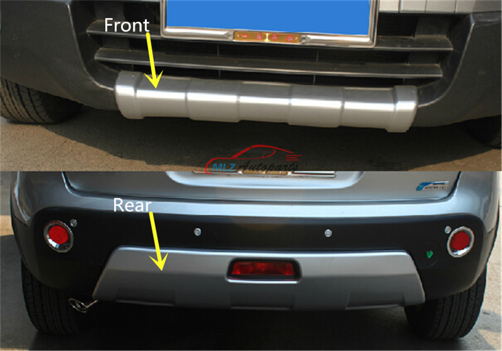 Front + Rear Bumper Protector Sill Trunk Guard Skid Plate Trim Cover Plate For Nissan Qashqai 2007 2008 2009 2010 2011 2012 2013 car rear trunk security shield shade cargo cover for nissan qashqai 2008 2009 2010 2011 2012 2013 black beige