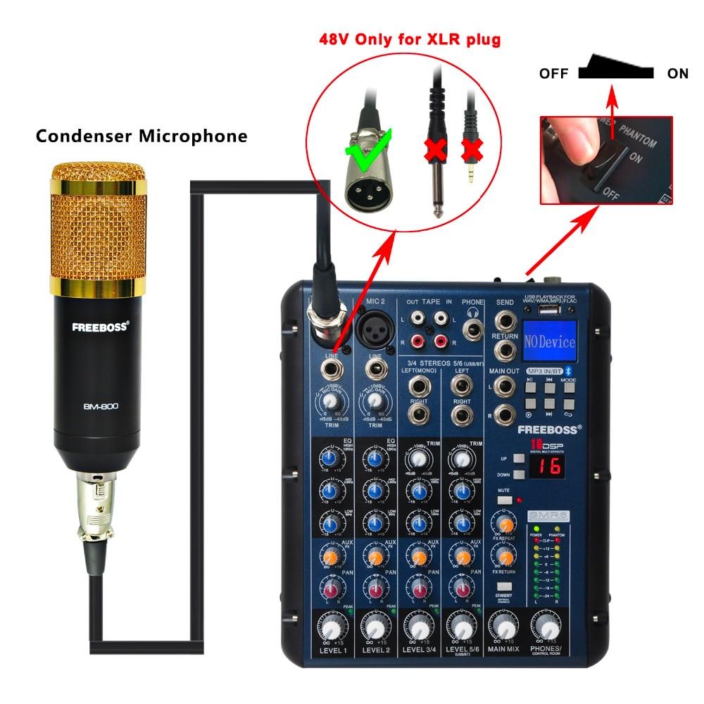 Freeboss SMR6 Bluetooth USB Record 2 Mono + 2 stereo 6 Kanale 3 Band - Audio dhe video në shtëpi - Foto 4