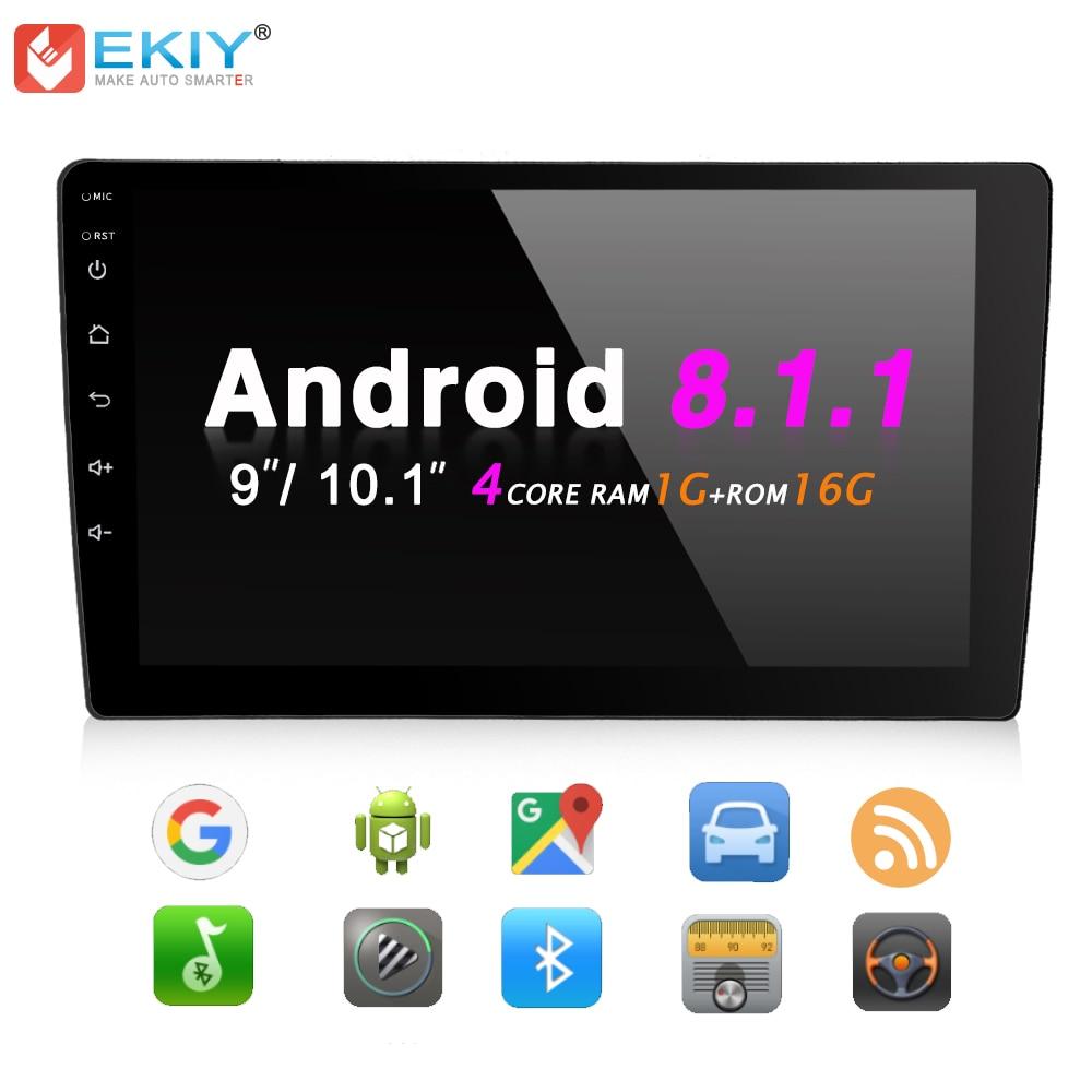 EKIY 9 ''/10.1'' Quad Core Android 8.1 2 Din Bluetooth WiFi GPS Navigation multimédia Autoradio stéréo musique vidéo lecteur MP5
