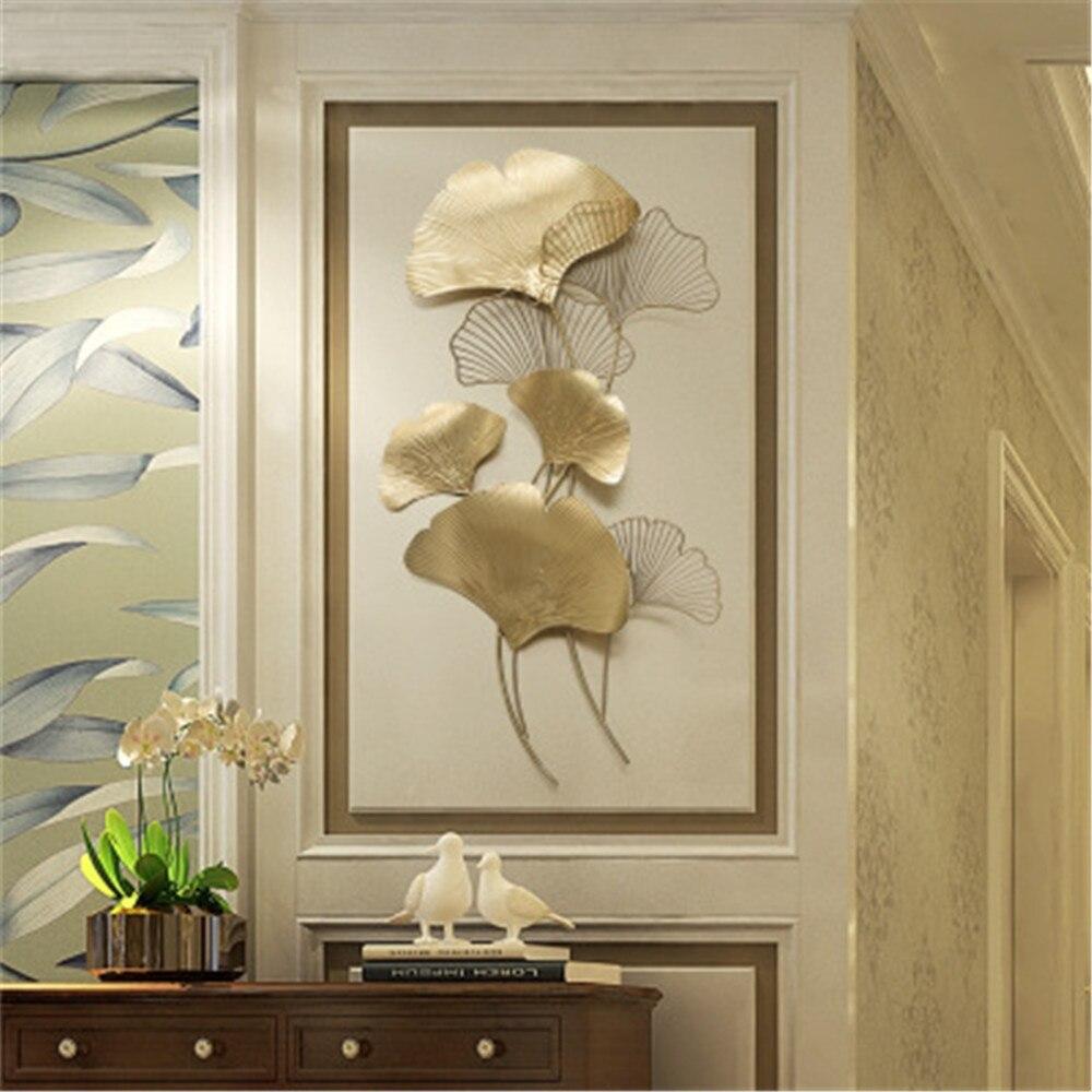 FGHGF moderne de luxe en fer forgé Ginkgo feuille fond porche métal ornement accessoires pendentif artisanat Mural décor Stickers muraux