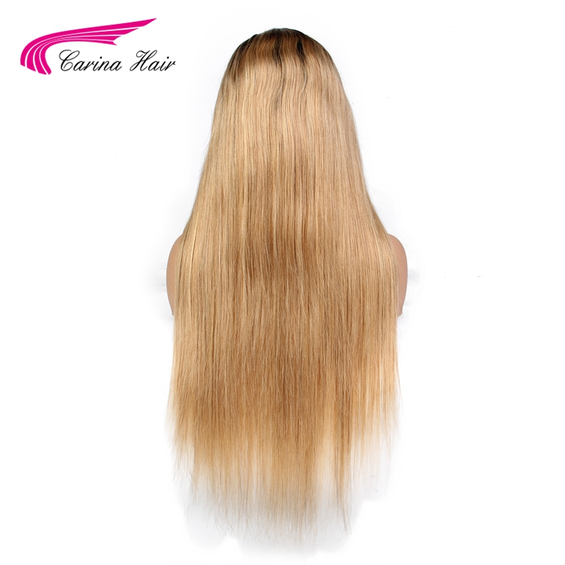 Carina Full Lace Human Hair Wigs with Baby Hair Glueless Lace Wigs with Natural Hairline Brazilian Remy Ombre Color Hair 1b27