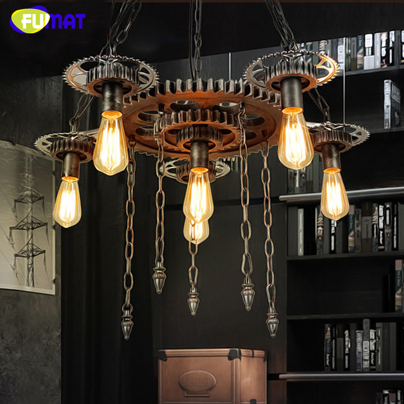 FUMAT Loft Pendant Light Lustre Wheel Gear Lamps For Living Room Bar  Art Decor Vintage Pendant Lamp Retro Iron Pendant Lights