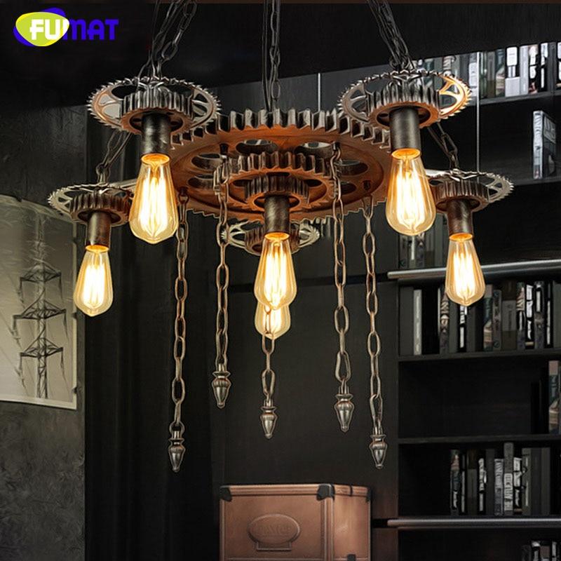 US $336.73 11% OFF|FUMAT Loft Pendelleuchte Glanz Zahnrad Lampen Für  Wohnzimmer Room Bar Kunst Decor Vintage Pendelleuchte Retro Eisen Anhänger  ...