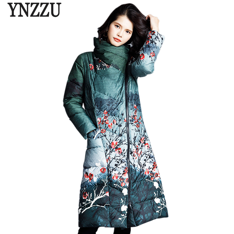 Luxury 2018 Winter Vintage Women's   Down   Jacket Chic Print Long 90% White Duck   Down     Coat   Zipper Elegant Warm Female Jacket AO770