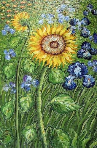 Superbe Golden Sunflower Blue Iris Flower Garden Field Van Gogh Repro Oil Painting
