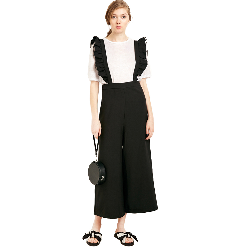Solid Black Ruffle Casual Jumpsuit - Fashion Trendy Shop