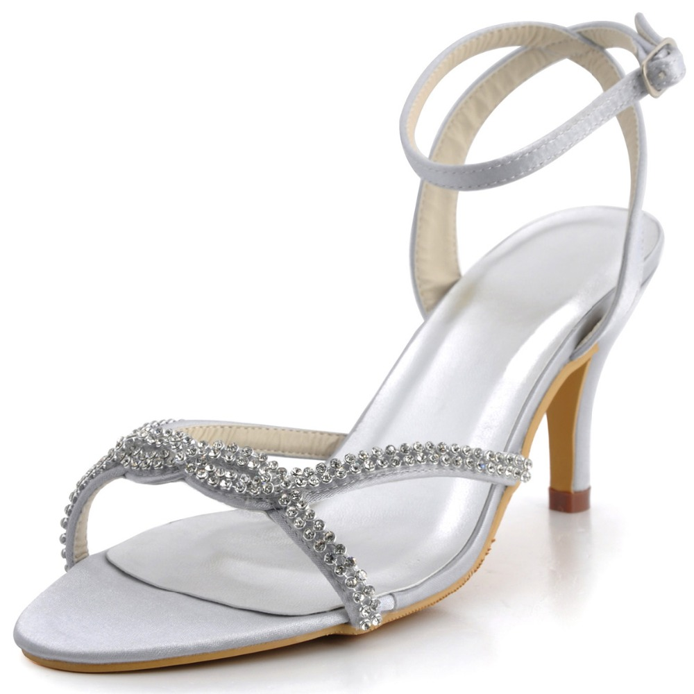 EP2056 Silver Women Sandals Open Toe Evening Party Pumps Sandals Rhinestones Slingback Ankle Straps Buckle Satin Wedding Shoes