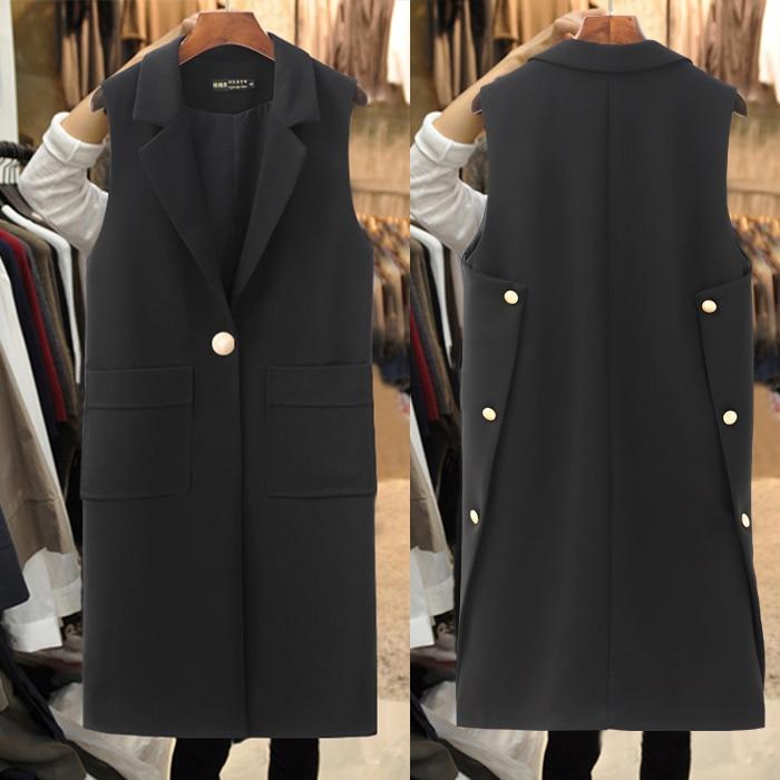 2019 3xl Un Manteau Blazer Long Costume Sans Veste Femme Manches Lady Décontracté W1617 Office Femmes Gilet Bouton Noir RRqpr