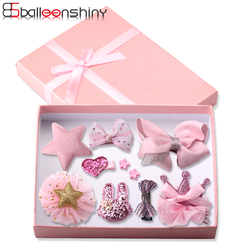 BalleenShiny 10PCS Bowknot Headwear Set Baby Girls Hair Clips Princess Crown Headdress Fashion Children Kids Hair Accessories new high quality baby hair accessories children s cute lace bowknot hair clips baby girl hairpin child hair bow ribbon headdress