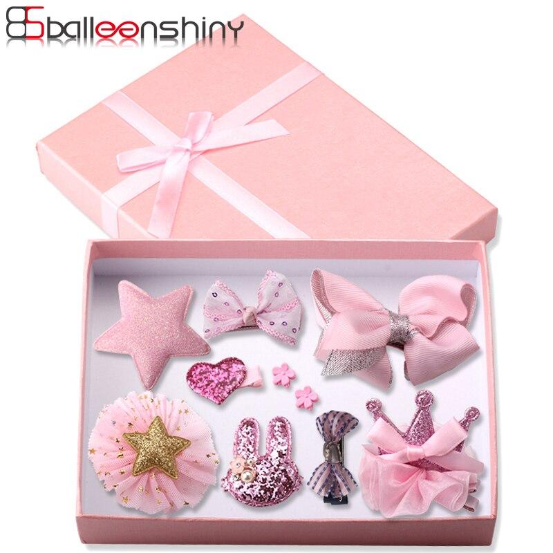 BalleenShiny 10PCS Bowknot   Headwear   Set Baby Girls Hair Clips Princess Crown Headdress Fashion Children Kids Hair Accessories