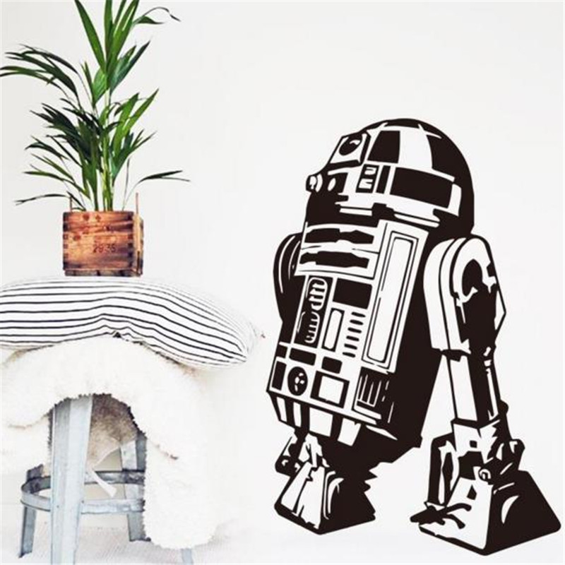 Star Wars robot Wall Sticker Quote R2 D2 Decal Vinyl Home Decor Kids Geek Gamer Removable Mural Bedroom wallpaper ...