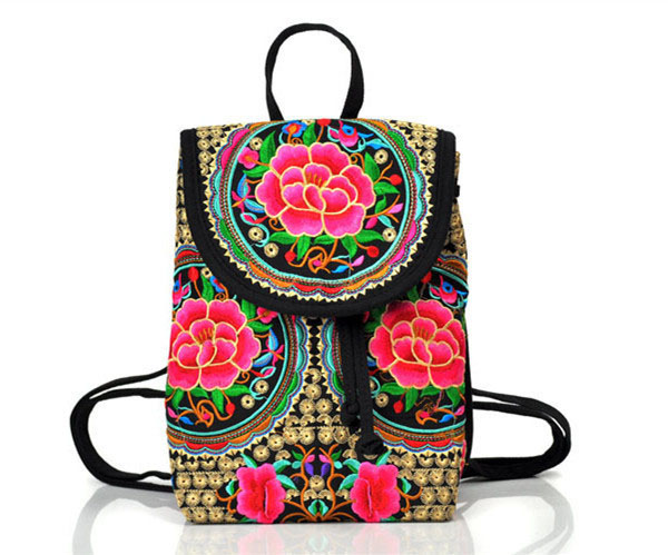 7644698ecdd2 2015 Ethnic canvas drawstring backpack women embroidery Bag kanken backpacks  for teenage girls mochilas escolares femininas-in Backpacks from Luggage    Bags ...